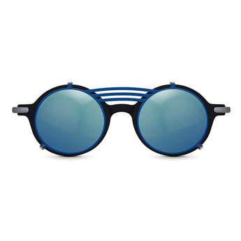 <strong>Robert - T - Triple Bridge</strong> <br> Black / Silver Temples & Blue Clip On