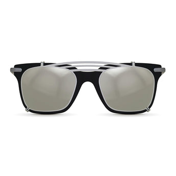 <strong>Winston - T - Triple Bridge</strong> <br> Black / Silver Temples & Silver Clip On