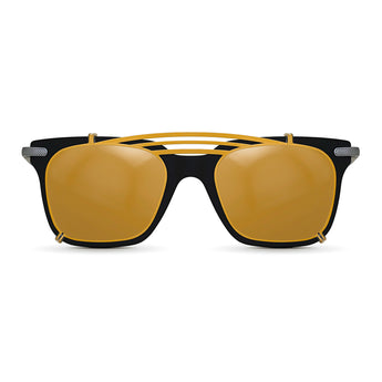 <strong>Winston - T - Triple Bridge</strong> <br> Black / Silver Temples & Gold Clip On