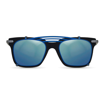 <strong>Winston - T - Triple Bridge</strong> <br> Black / Silver Temples & Blue Clip On