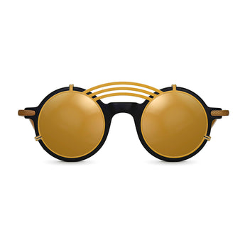 <strong>Jasper - T - Triple Bridge</strong> <br> Black / Gold Temples & Gold Clip On