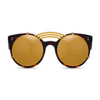 <strong>Loli - Triple Bridge</strong> <br> Havana / Black w/ Gold Clip On