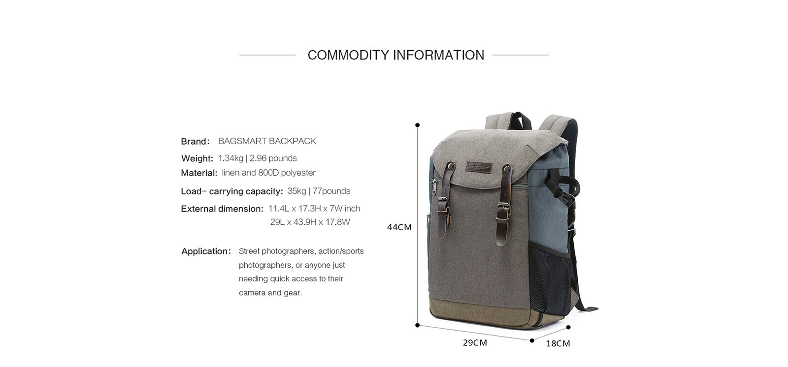 Camera Backpack with 15.6 Inch Laptop Compartment and Waterproof Rain Cover for SLR/DSLR Cameras and Accessories