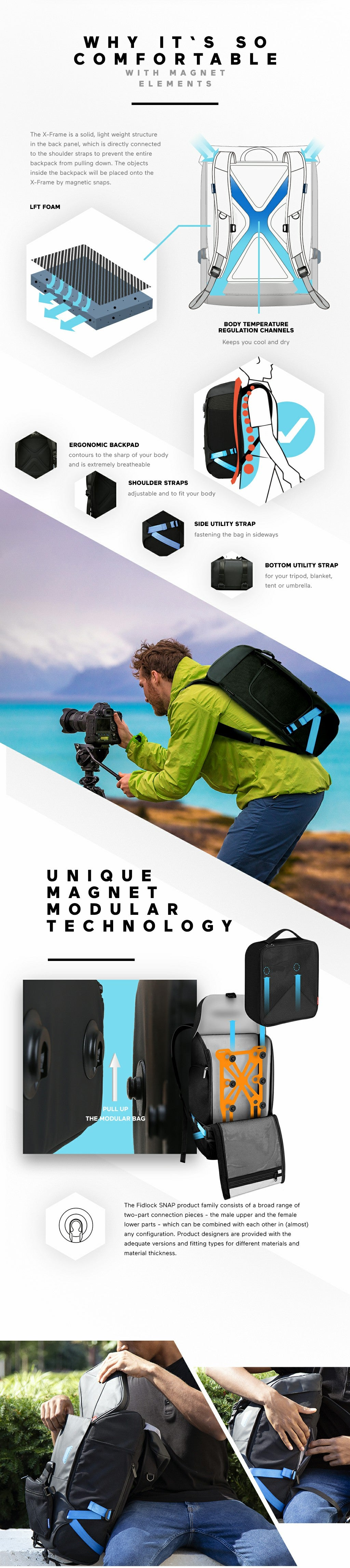 The X-Frame is a solid, light weught structure in the black panel, which is directly connected to the shoulder straps to prevent the entire backpack form pulling down. The objects inside the backpack will be placed onto the X-Frame by magnetic snaps. Ergonomic backpad: contours to the sharp of your body and is extremely breathable. Shoulder straps: adjustable and to fit your body. Side utility strap: fastening the bag in sideways. Bottom utility strap: for your tripod, blanket tent or umbrella. The fidlock SNAP product family consists of a broad range of two-part connection pieces - the male upper and the female lower parts - which can be combined with each other in (almost) any configuration. Product designers are provided with the adequate version and fitting types for different materials and material thickness.