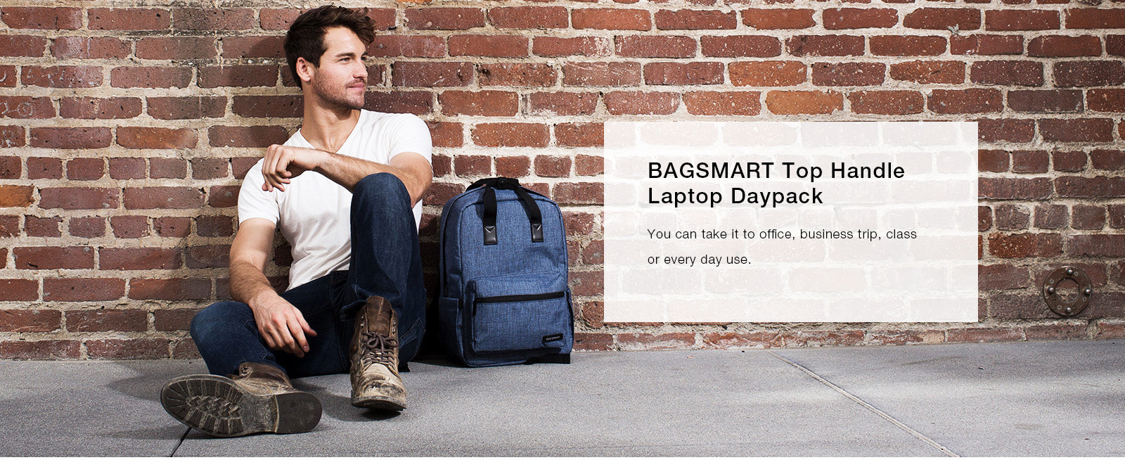 BAGSMART Laptop Backpack Water Resistant Casual School Business Travel Daypack Fits 14 Inch Laptops Tablets