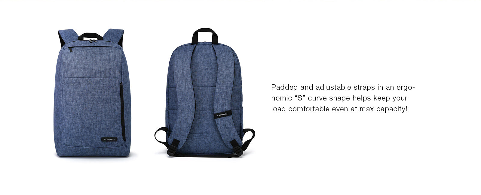 BAGSMART Business Laptop Backpack Water Resistant Slim School Backpack Fits Up To15.6 Inch Laptops Notebook Tablets