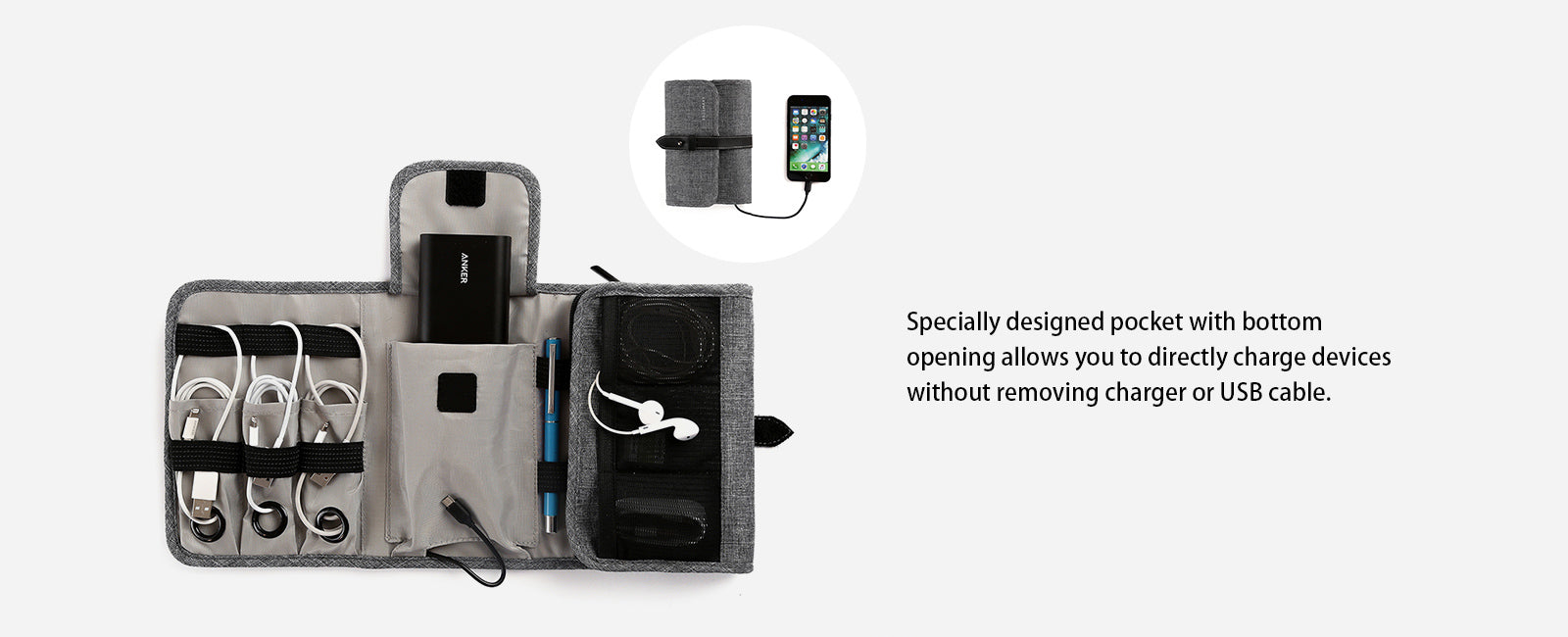 Compact Travel Cable Organizer Portable Electronics Accessories Bag Hard Drive Case for Various USB, Phone, Charger