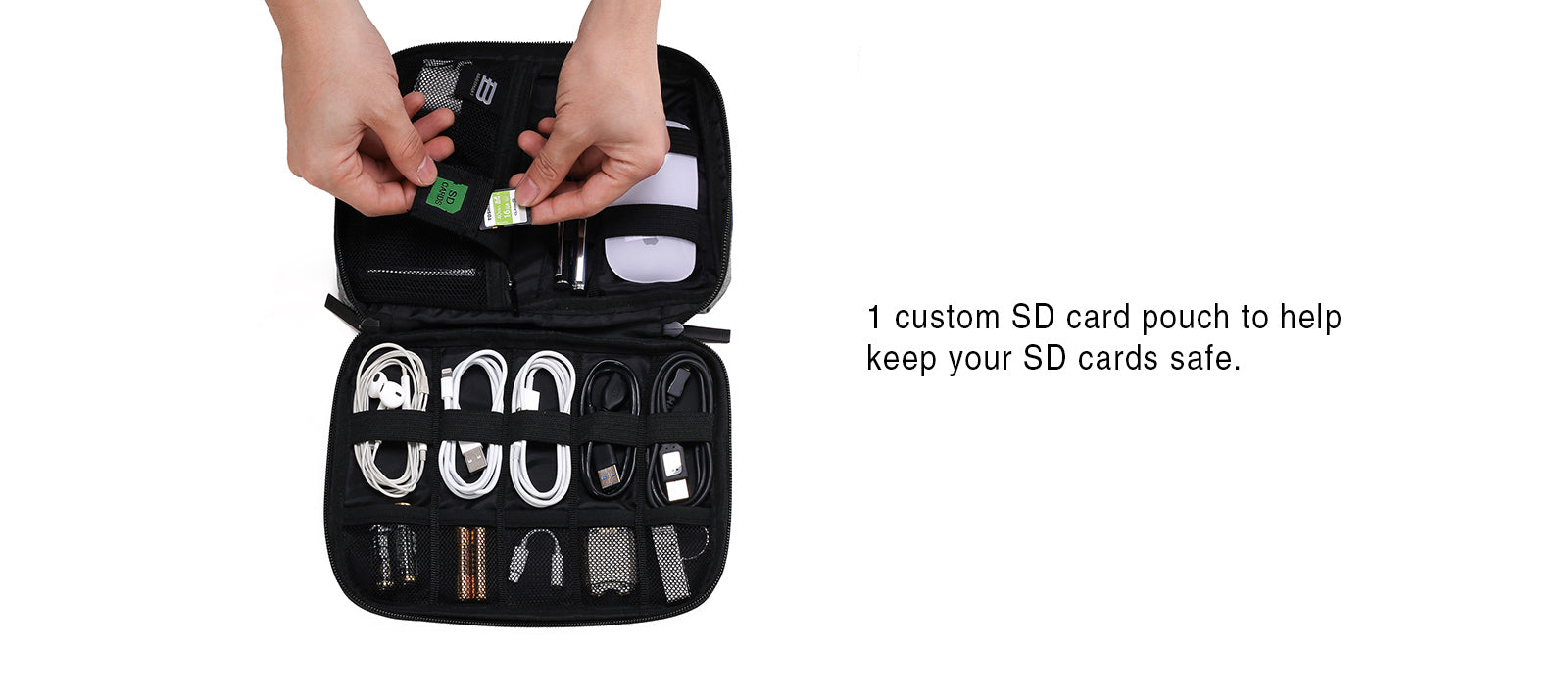 Small Travel Electronics Cable Organizer Bag for Hard Drives, Cables, Charger