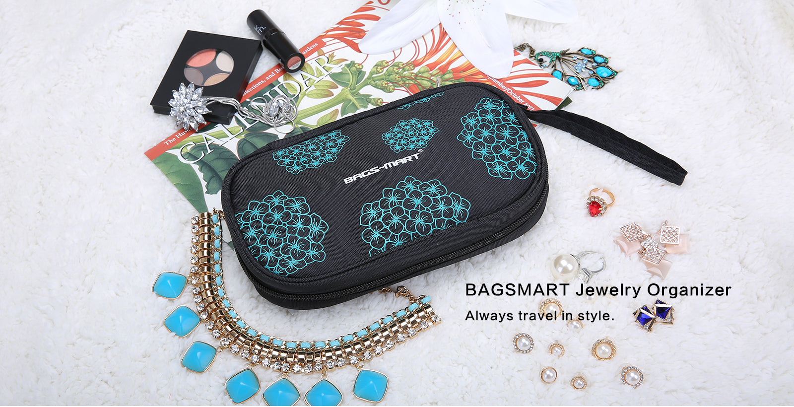 Portable Travel Hanging Jewelry Storage Case Ring Organiser Bag