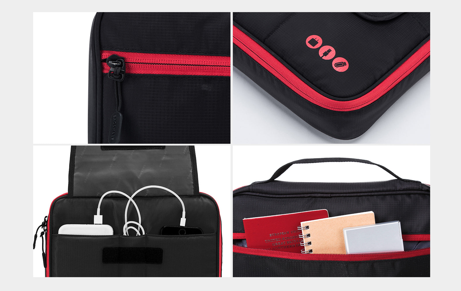 Universal Travel Cable Organizer Electronics Accessories iPad Carry Bag All in one Case