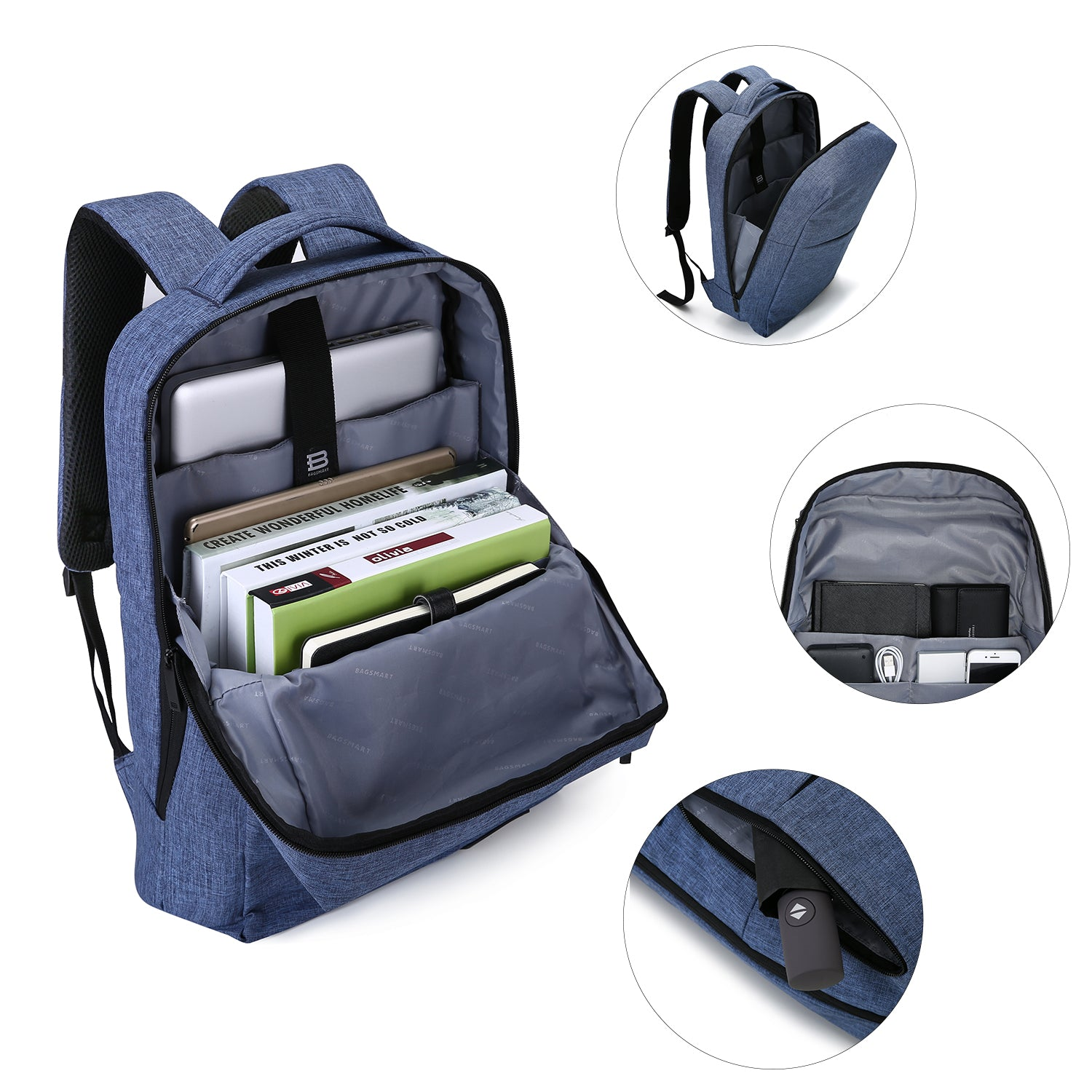 BAGSMART Business Laptop Backpack Water Resistant Slim Travel Backpack for  Men   Women Fits 15.6 Inch 5ea5dbadeb0fc
