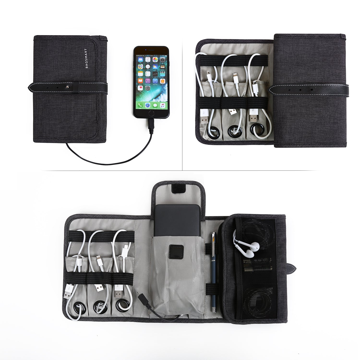 14683085bb BAGSMART Compact Travel Cable Organizer Portable Electronics Accessories Bag  Hard Drive Case for Various USB