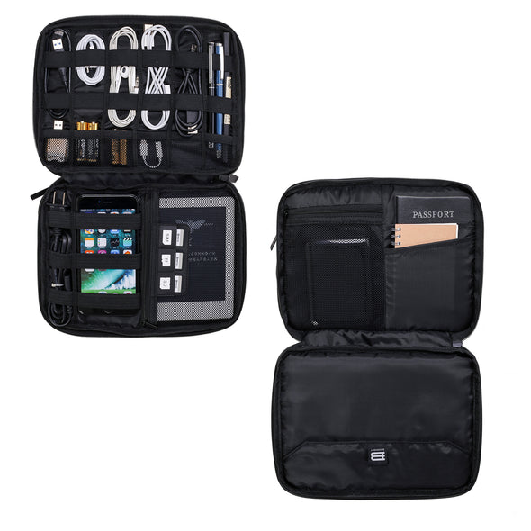 "3-layer Travel Electronics Cable Organizer Bag for 9.7"" iPad, Hard Drives, Cables, Charger, Kindle"