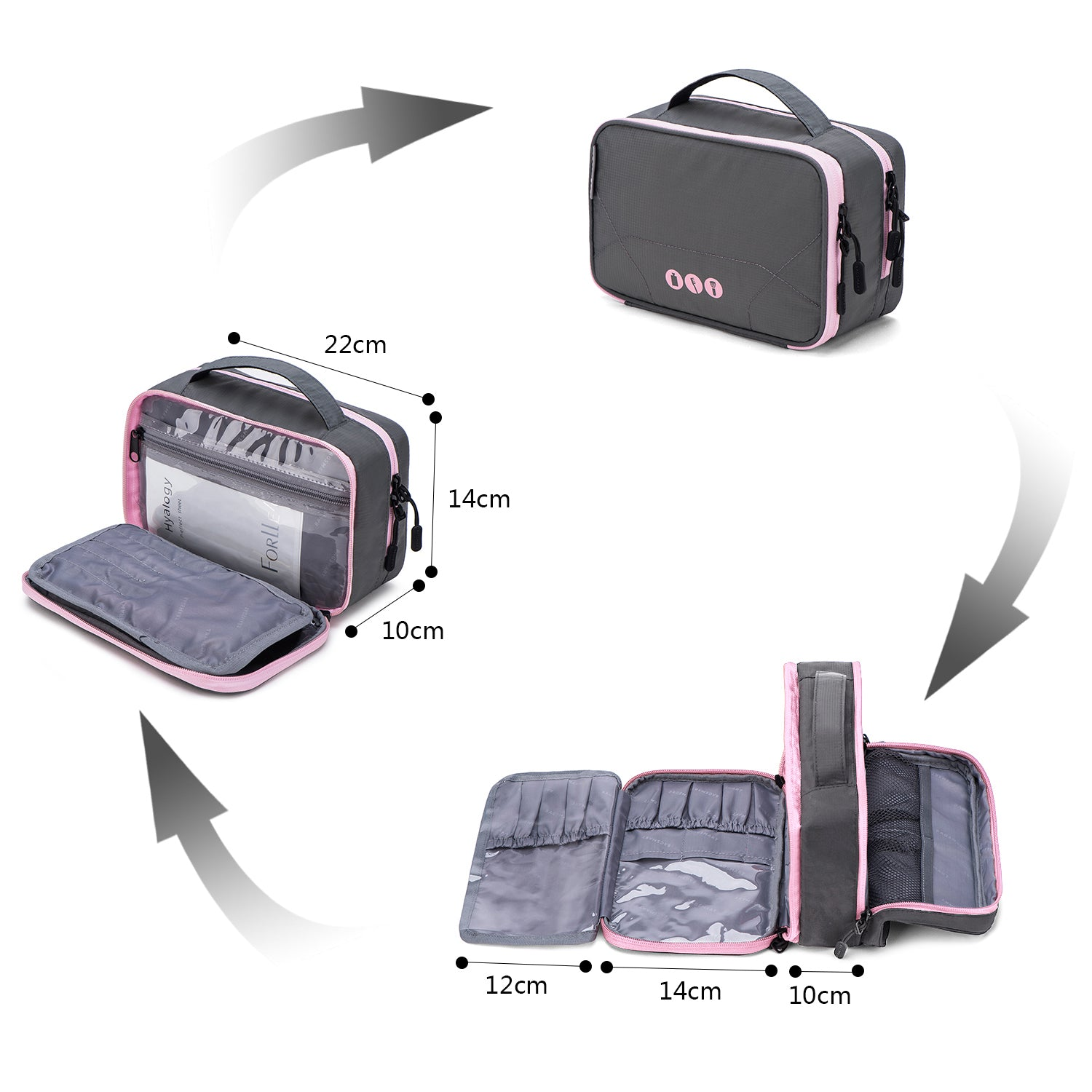 33f24304a1 Double-layer Travel Toiletry Bag Portable Makeup Cosmetic Bag Travel Kit  Organizer