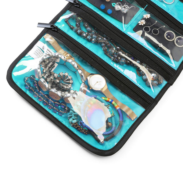 Hanging Travel Jewelry Roll Bag with Zippered Compartments