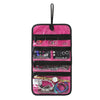 Hanging Travel Jewelry Roll Bag with Zippered Compartments for Earrings & Necklaces & Ring