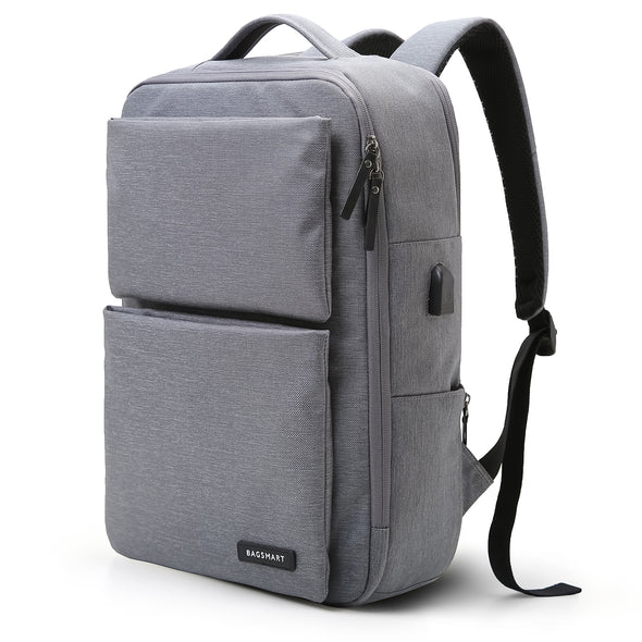 Laptop Backpack Business Bags with USB Charging Port Anti-Theft Water Resistant Polyester School Bookbag for College Travel fits upto 15.6 Inch Notebook
