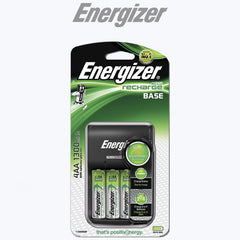 Energizer Base Charger + 4x Rechargeable NiMH AA 1300mAh Batteries