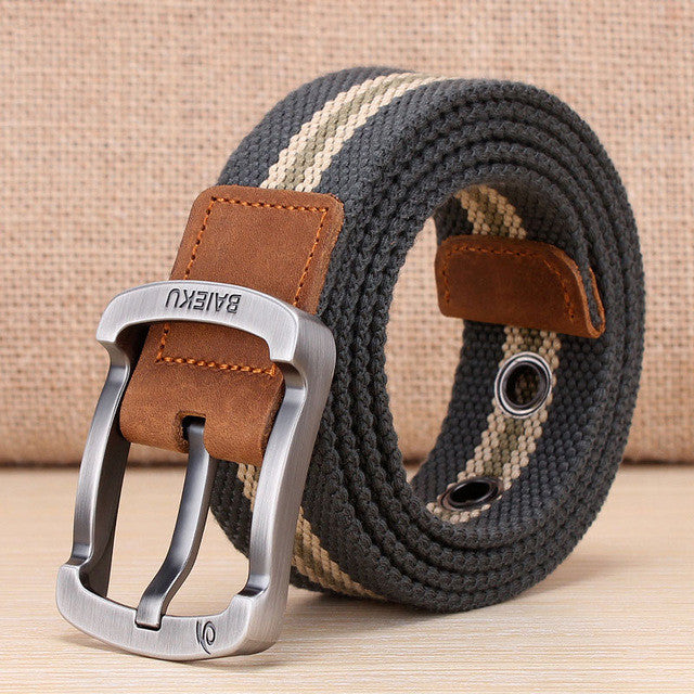 High Quality Belt For Jeans / Multiple Colors,Army green stripe / 105cm