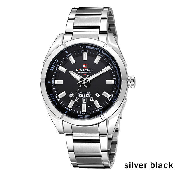 Sport Quartz Waterproof Watch,silver black