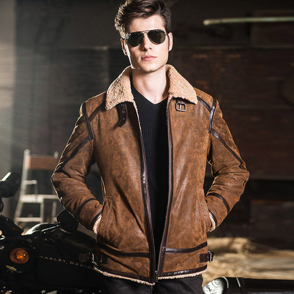 Motorcycle Genuine Leather Jacket,Champagne / S