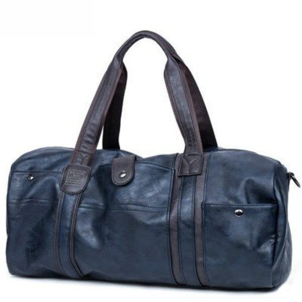 "Oil Wax Leather Bag (20""x 9""x 8/12""),Blue"