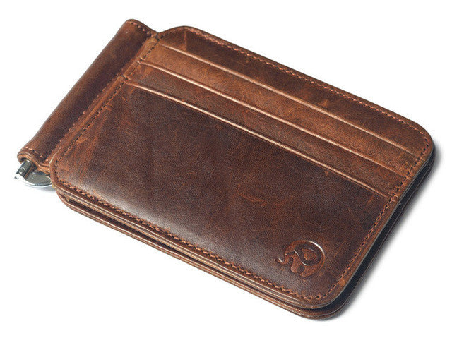 Vintage Money Clip Wallet,Wax oil curry
