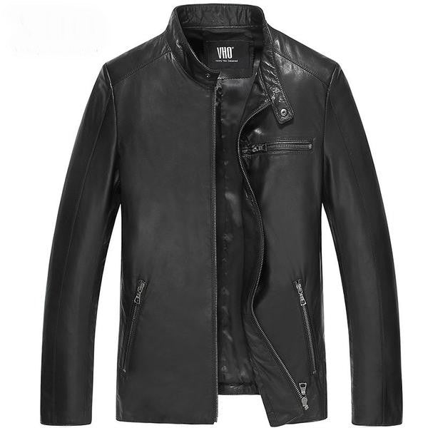 Genuine Sheepskin Leather Jacket,black / XL