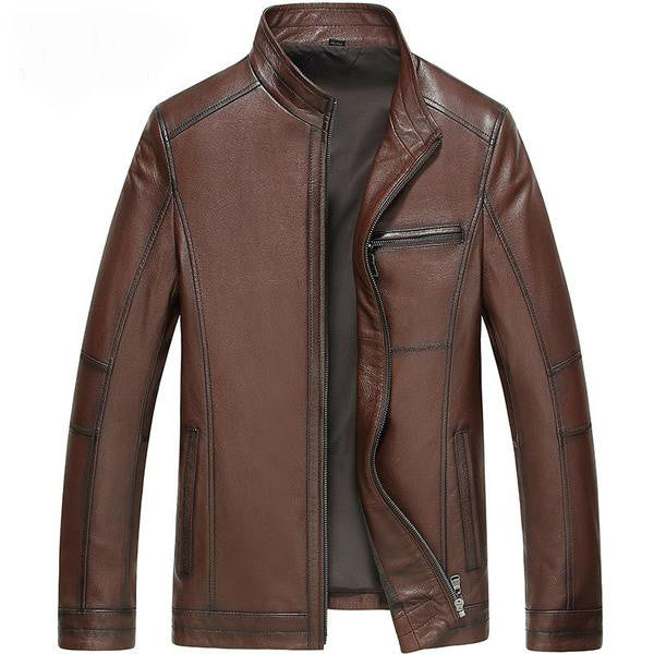 Genuine Sheepskin Leather Jacket,brown / XL