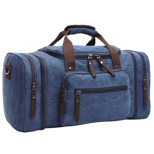 "Quality Canvas Travel Bag / Multiple Colors (21""x 12""x 10""),Dark Blue"