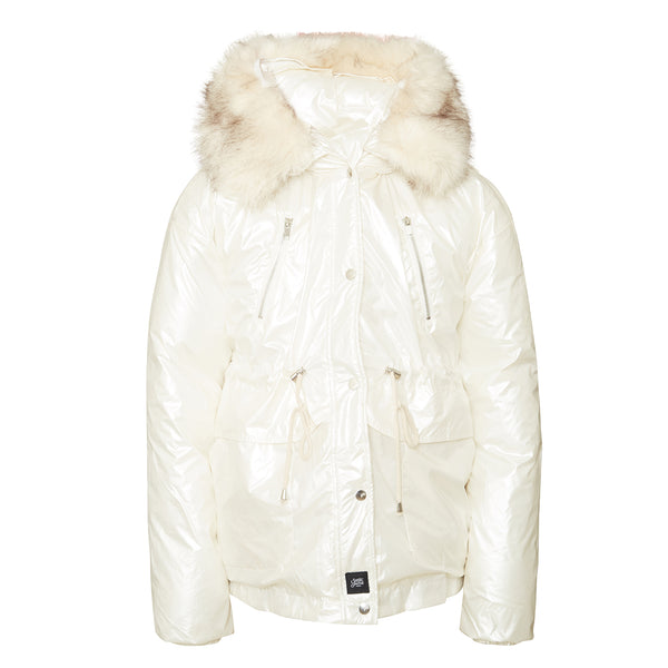 Faux fur pearly oversized down jacket white