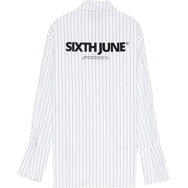 Printed stripes wide shirt white