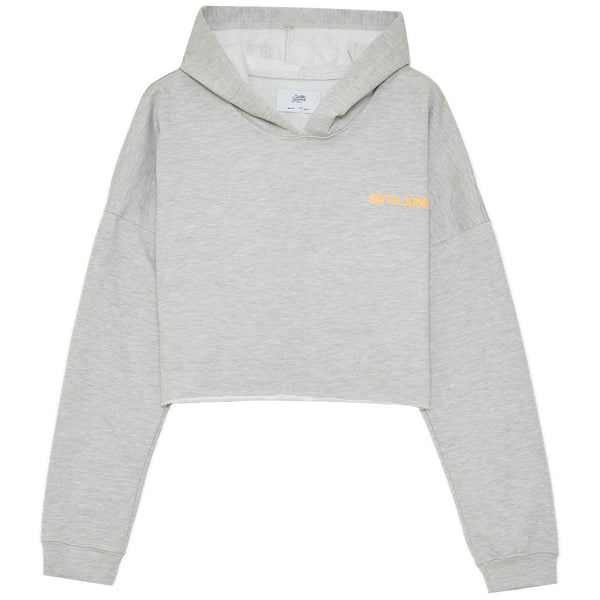 Back reflective cropped hoodie grey