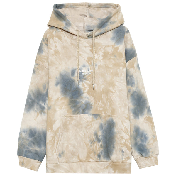 Sweat à capuche large tie dye beige