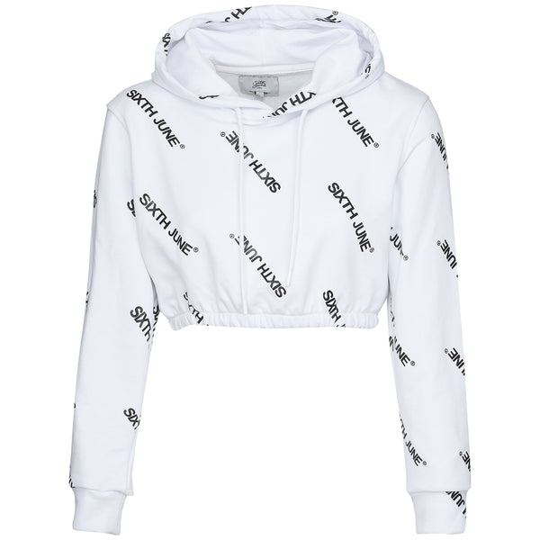 All over printed cropped sweatshirt white