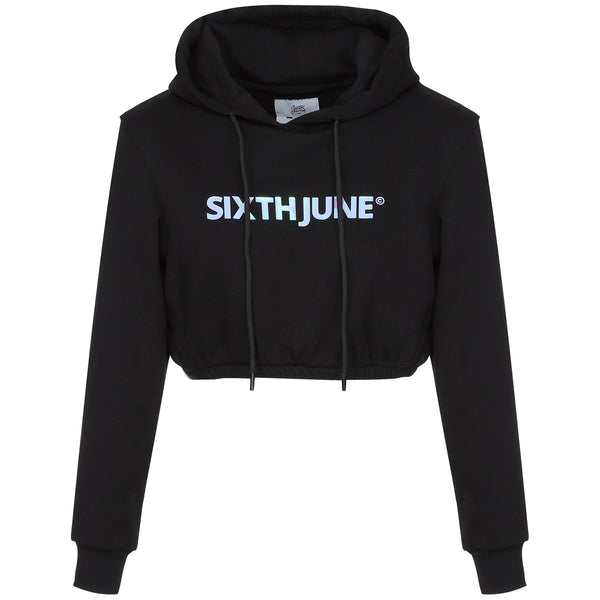 Holographic cropped hoodie black