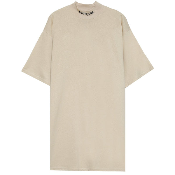 Robe t-shirt col montant Beige