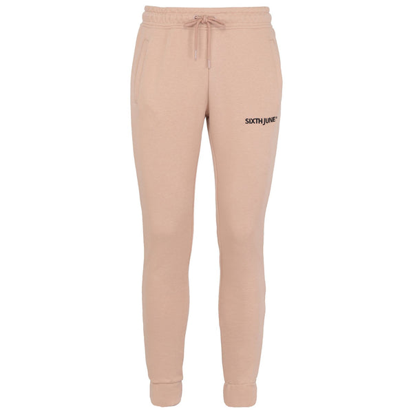 Soft embroidered logo joggers beige