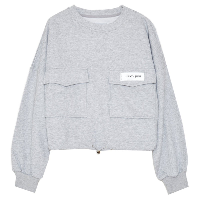 Logo patch sweatshirt gris