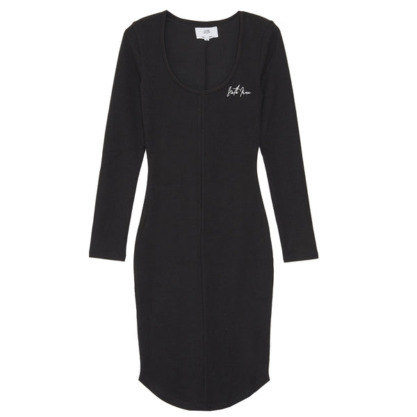 Embroidery long sleeves dress black