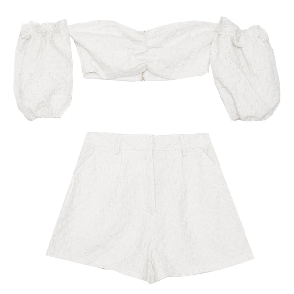 Ensemble top + short texturé blanc