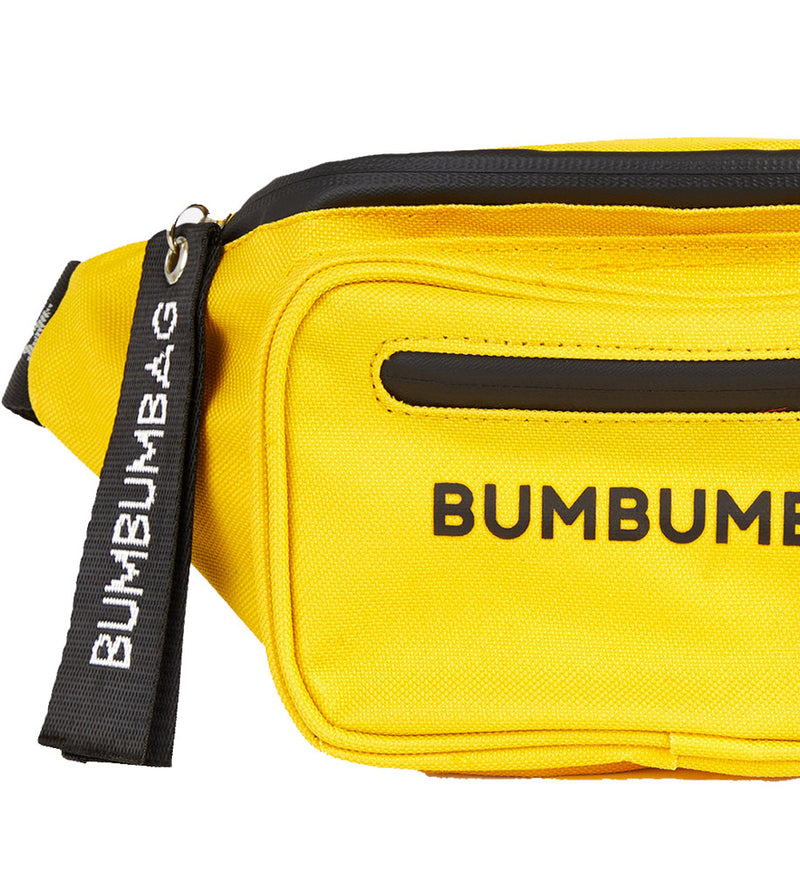 zipped text chest bag yellow
