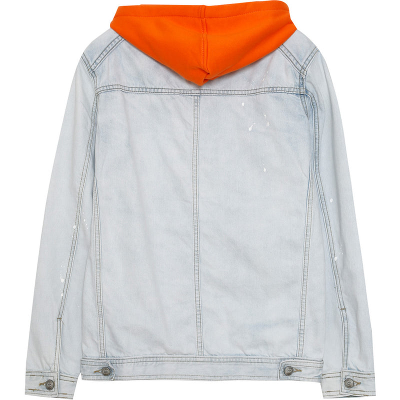 Veste jean capuche bleu orange