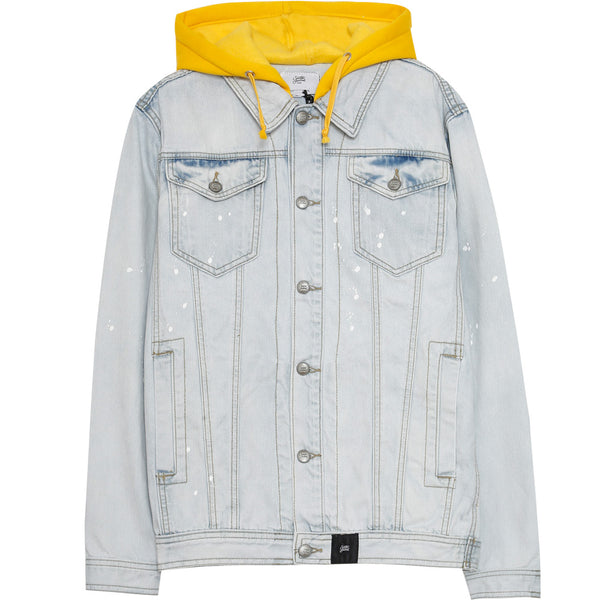 denim jacket with jersey hood