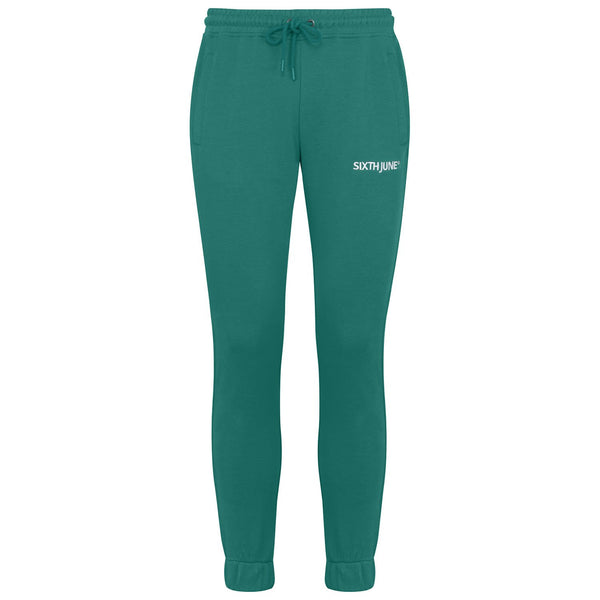 Soft embroidered logo joggers Green