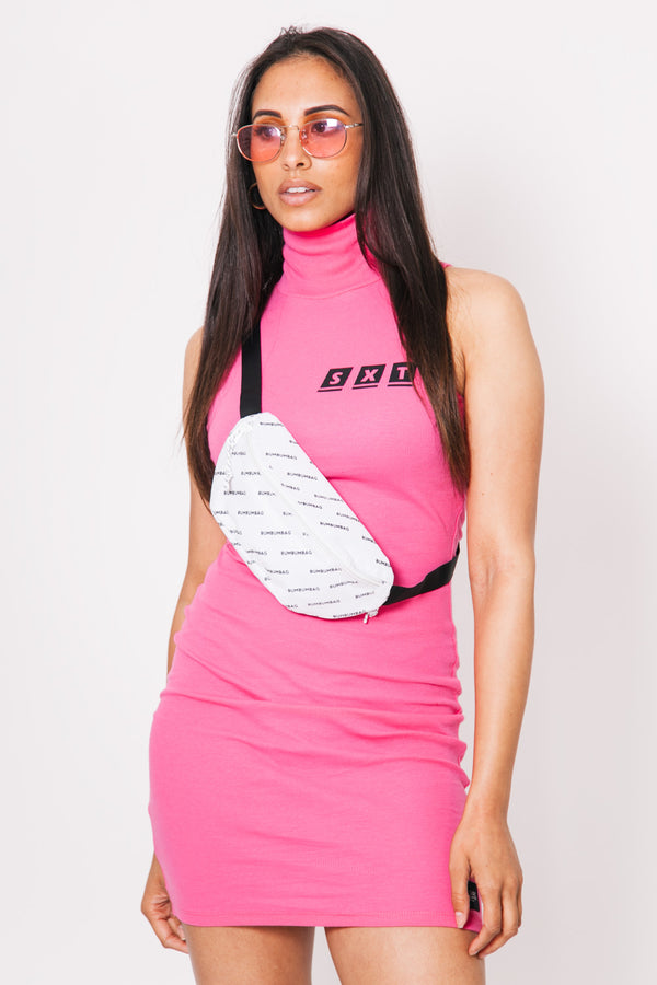 Robe col montant SXT rose fluo