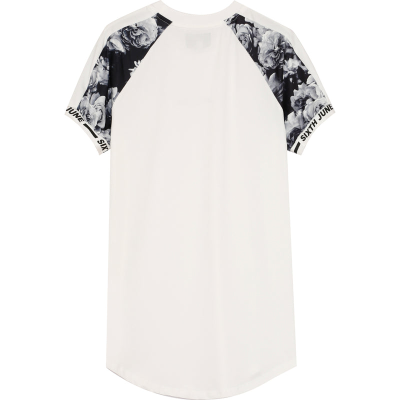 T-shirt rose bicolore blanc