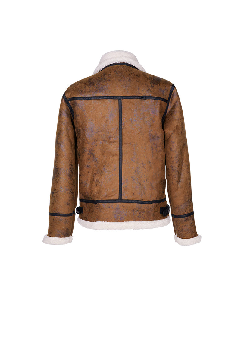 Veste aviateur revers faux mouton marron
