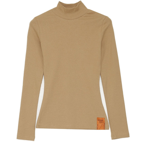 T-shirt col montant beige
