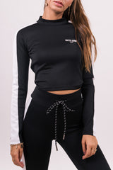 Crop top bandes noir blanc